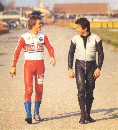 Imola 1973, walking with Walter Villa