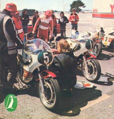 France 1973, Paul Ricard, Pits, Yamaha 250cc and 500cc of Jarno and Kanaya